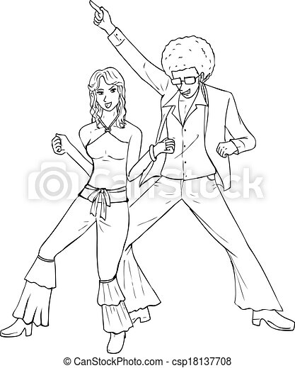 disco 70 s outline illustration of a couple dancing in the 70s The Beatles disco 70 s csp18137708