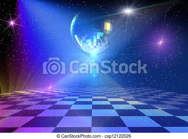 Disco Background Dancing Floor With Mirror Ball Rendered