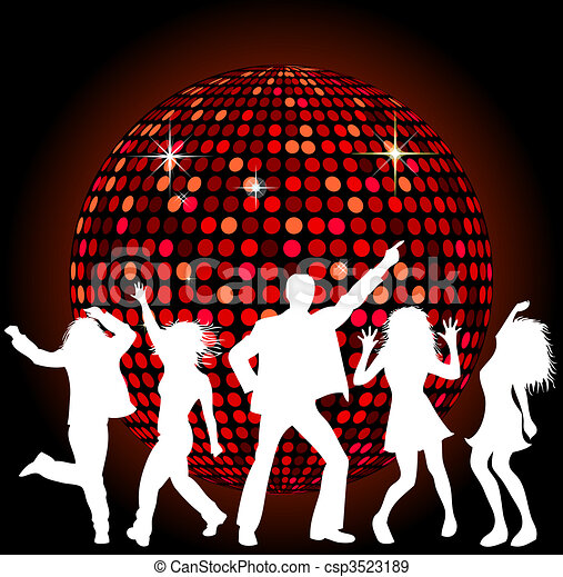 Disco Ball and dancing People - csp3523189
