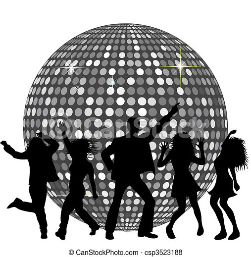 Disco Ball and dancing People - csp3523188