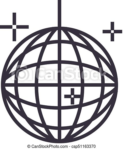 disco ball party vector line icon sign illustration on vectors rh canstockphoto com animated disco ball clipart disco ball clipart png