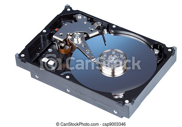 Disco duro desmontado aislado en blanco - csp9003346