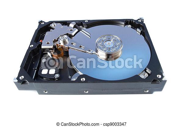 Disco duro desmontado aislado en blanco - csp9003347