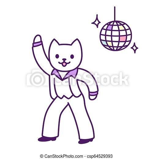 Disco Dancer Cat Funny Disco Dancer Cat Drawing Cartoon Dancing Character Vector Illustration