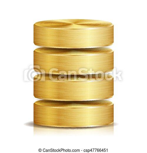 disco, dorado, concepto, red, base de datos, duro, aislado, ilustración, realista, computadora, disk., blanco, icono, reserva, metal., vector. - csp47766451