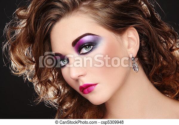 Disco Maquillage Beau Coiffure Boucle Colore Jeune Disco