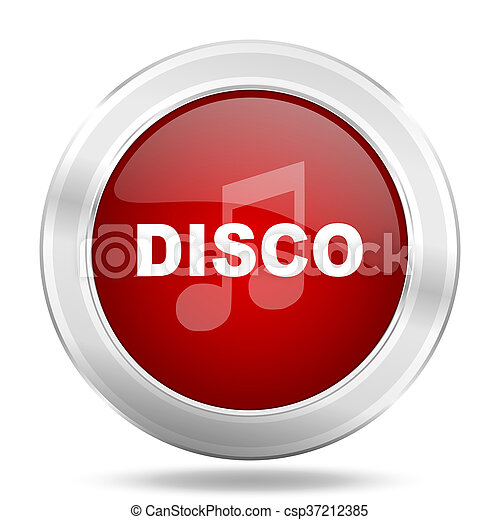 disco music icon, red round glossy metallic button, web and mobile app design illustration - csp37212385