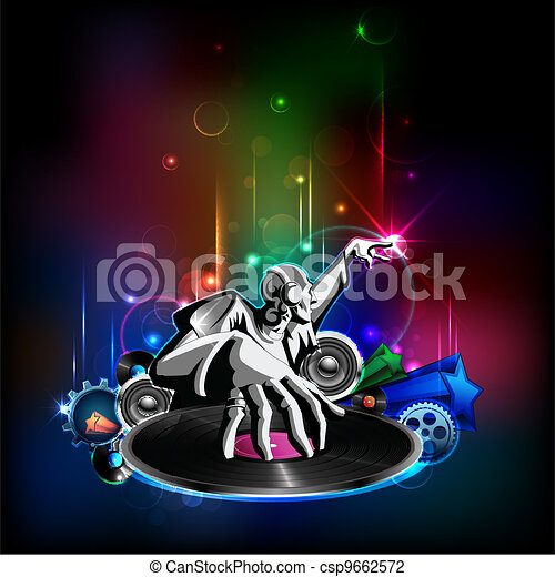 Disco Night Illustration Of Disco Jockey Playing Music On