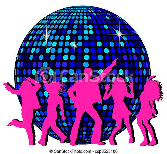disco piłka, taniec, ludzie - csp3523186