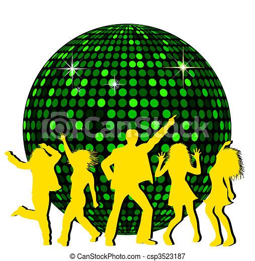disco piłka, taniec, ludzie - csp3523187