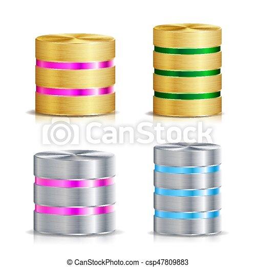 disco, red, base de datos, set., vector, icono - csp47809883