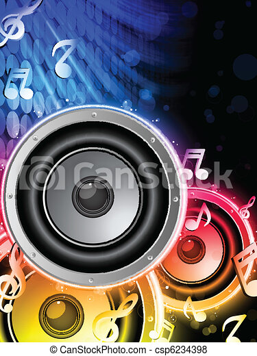 Disco Speaker with Music Notes in Neon Rainbow Circle - csp6234398