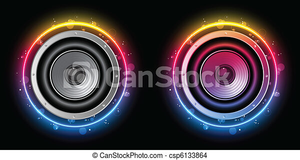 Disco Speaker with Neon Rainbow Circle - csp6133864