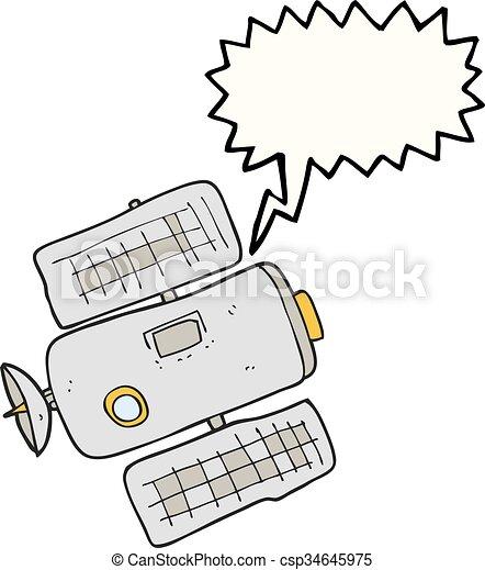 discorso, stazione, bolla, cartone animato, spazio - csp34645975