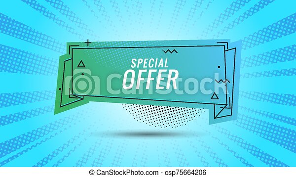 Discount banner shape. Special offer badge. Sale coupon bubble icon. Abstract blue sunbeams background. Modern concept design. Banner with offer badge. Vector illustration - csp75664206
