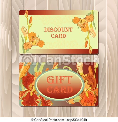 Discount card printable template with red iris flower design.  - csp33344049