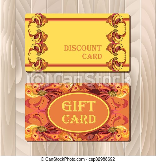 Discount card template with peacock feathers design.  - csp32988692