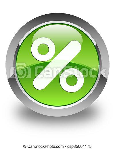 Discount icon glossy green round button - csp35064175
