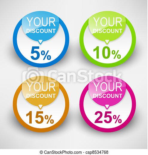 Discount labels. Vector - csp8534768