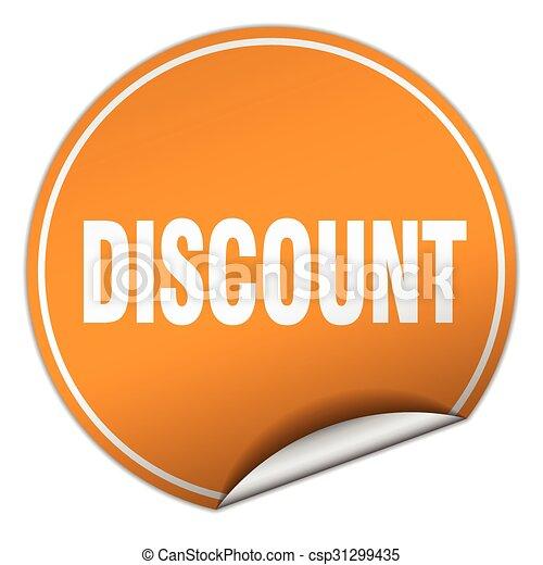 discount round orange sticker isolated on white - csp31299435