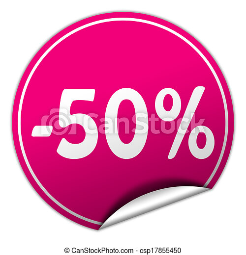discount round pink sticker on white background - csp17855450