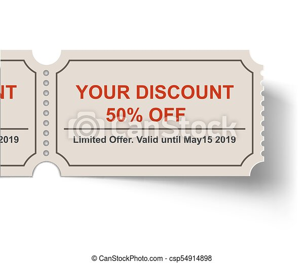 Discount tear-off ticket with shadow on white background. sale ...