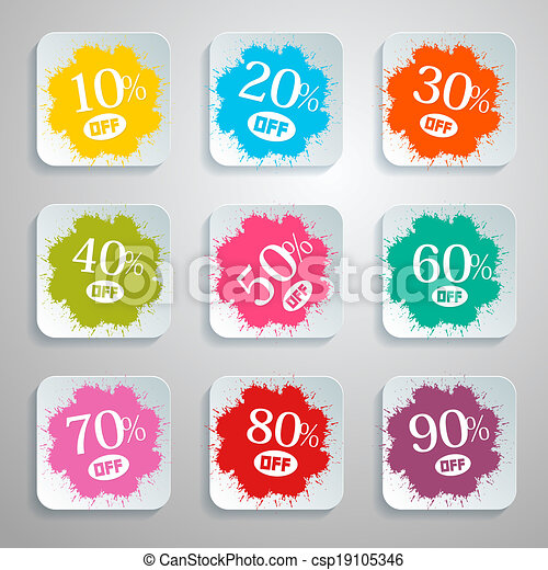Discount Vector Splash - Paper Labels Set - csp19105346