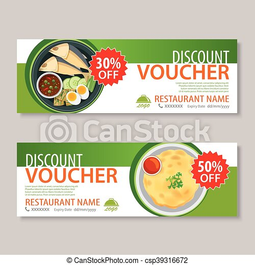 Discount voucher template with thai food flat design.