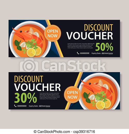 Discount Voucher Template With Thai Food Flat Design Vector Clip Art