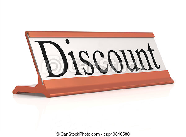 Discount word on table tag isolated, 3d rendering.