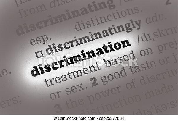 Discrimination  Dictionary Definition - csp25377884