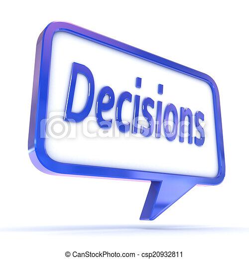 """Burbuja de habla mostrando """"Decisiones"""" - csp20932811"""