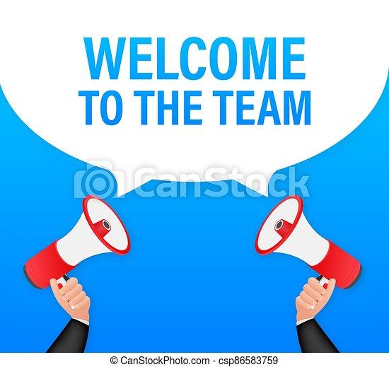 discurso, signo., bienvenida, equipo, vector, bubble., publicidad, escrito, illustration., acción - csp86583759