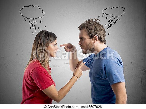 discussão, entre, marido, esposa - csp16507026