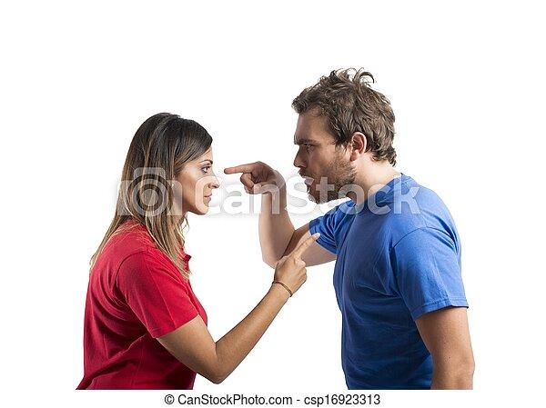 discussão, entre, marido, esposa - csp16923313