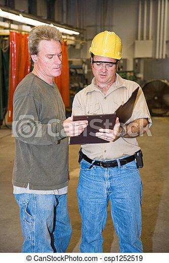 discussie, fabriek, vloer - csp1252519
