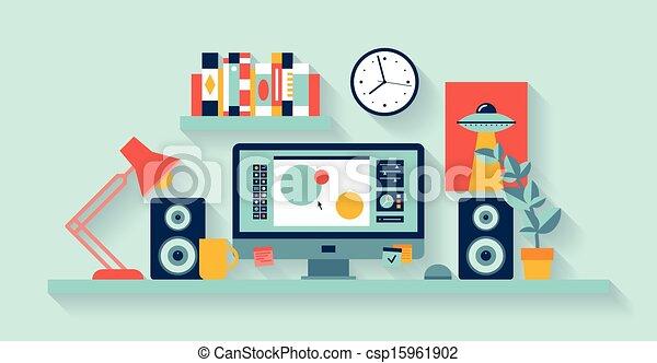 Diseñador de espacio de trabajo en la oficina - csp15961902