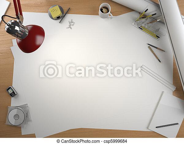 Diseñador de mesa con elementos y espacio de copia - csp5999684