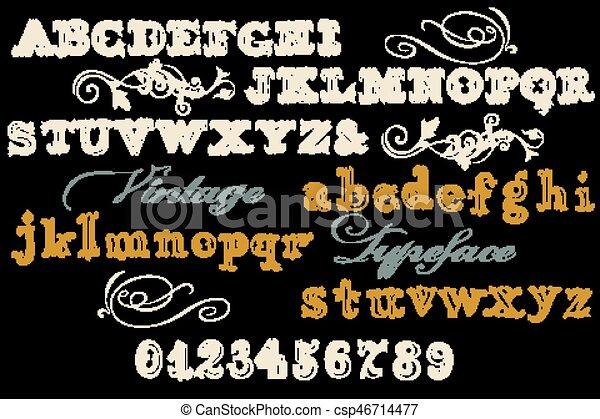 Tipo de fogueo, letra clásica con letras, números. Abc.eps Inglés - csp46714477
