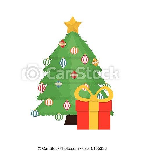 Diseño, árbol, alegre, pino, navidad. Figura, regalo,... vectores ...
