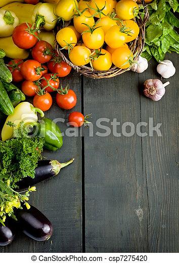 diseño abstracto, vegetales, plano de fondo - csp7275420