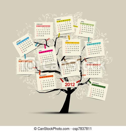 Árbol de calendario 2012 para tu diseño - csp7837811
