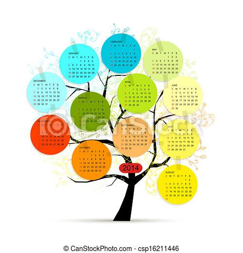 Árbol de calendario 2014 para su diseño - csp16211446