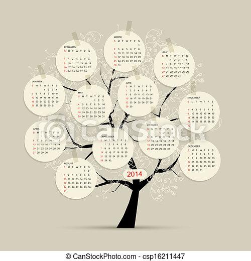 Árbol de calendario 2014 para su diseño - csp16211447