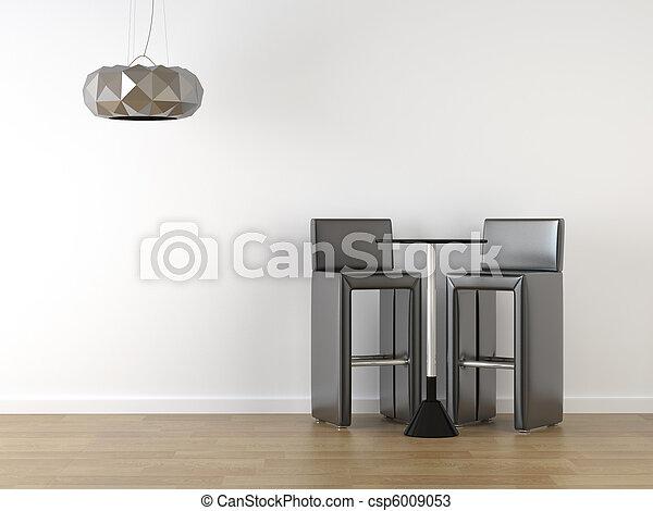 Diseño del interior de taburetes negros en blanco - csp6009053
