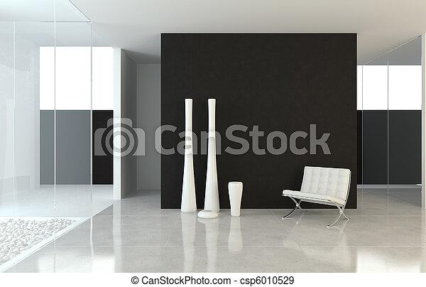 Diseño del interior moderno B+W - csp6010529