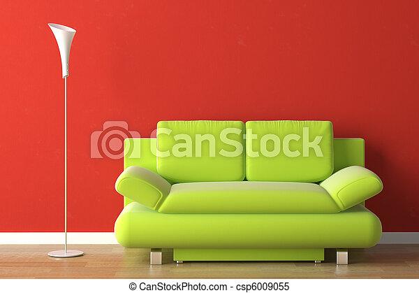 Diseño de interior verde sofá en rojo - csp6009055