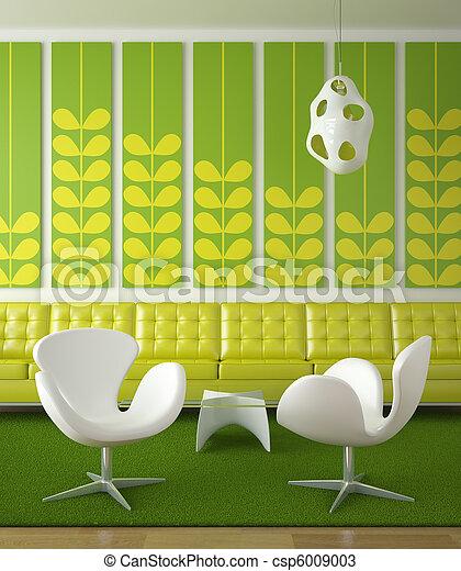 Retro diseño de interior verde - csp6009003