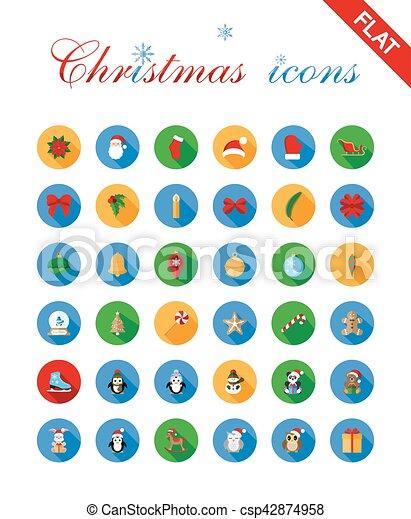 Los íconos de Navidad se ponen y diseñan elementos. - csp42874958