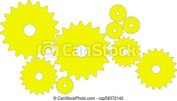 Engranajes en diseño amarillo - csp59372142